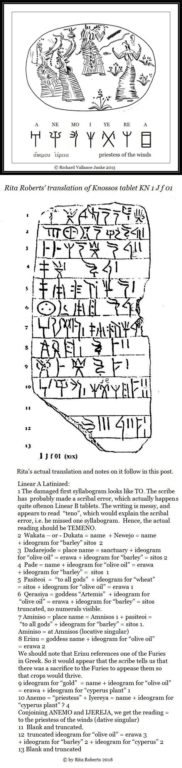 Linear B tablet KN 1 J f 01 priestess of the winds