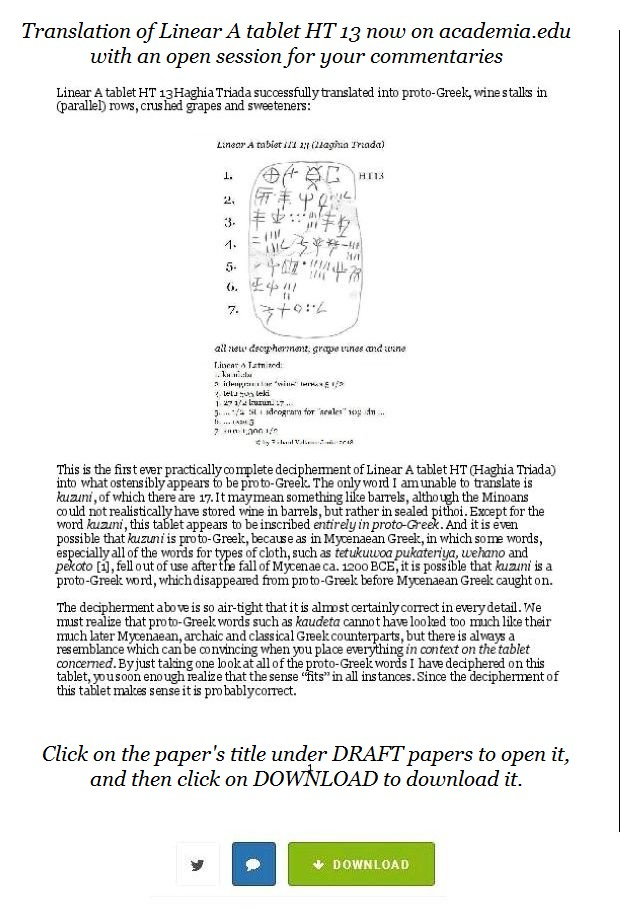 Linear A tablet HT 13 on academiaedu