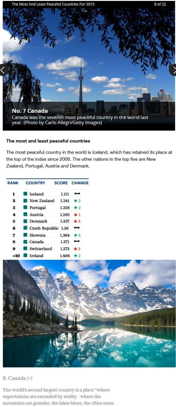 Canada 7 and 8 most peaceful
