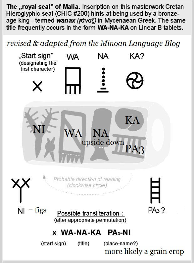 Hieroglyphic inscription WANAKA Malia seal