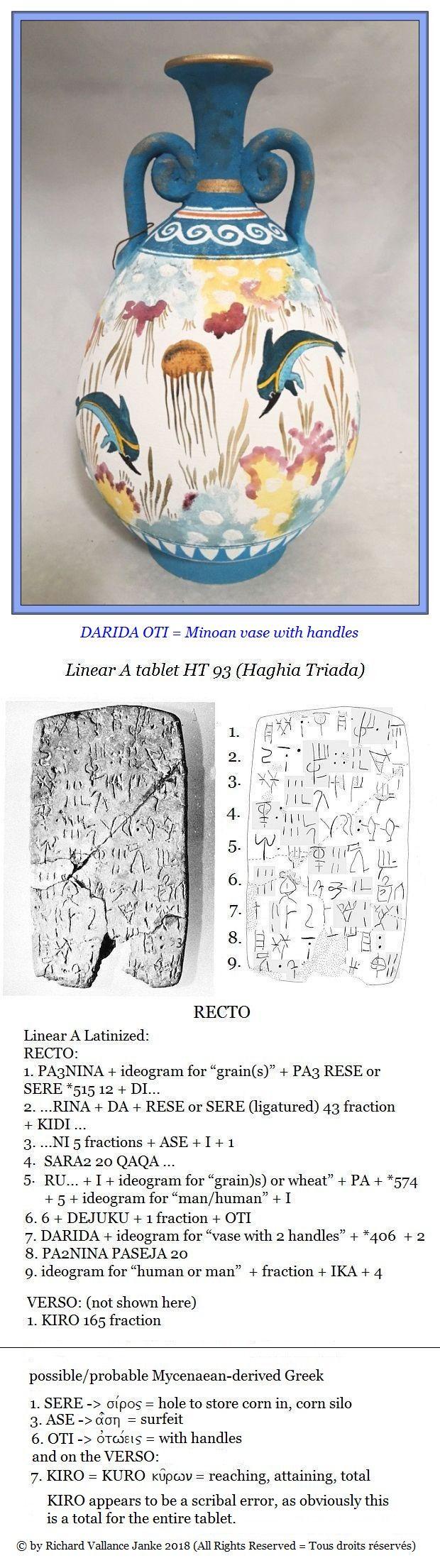 Linear A tablet HT 93 Haghia Triada