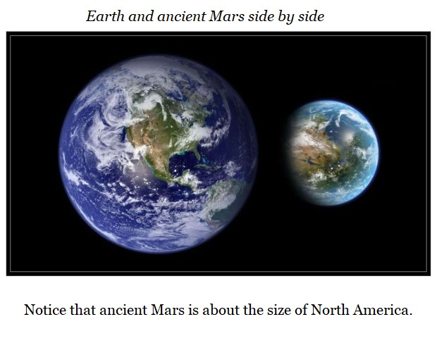 Earth and ancient Mars side by side