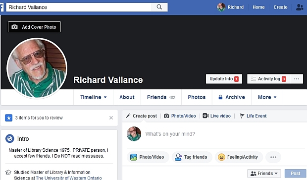 Richard Vallance Facebook