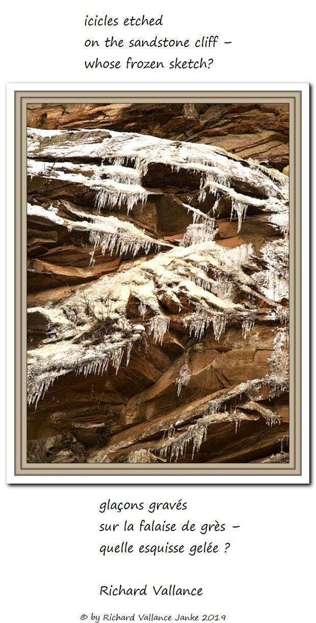 icicles etched on sandstone