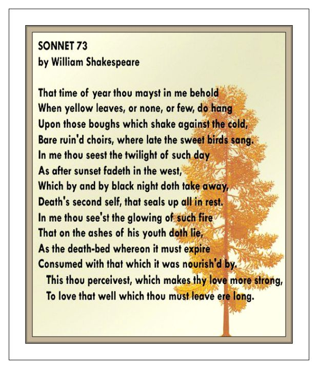 Shakespeare Sonnet 73 bare ruin'd choirs